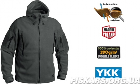 Флисовая кофта с капюшоном Helikon-Tex Patriot Heavy Fleece Jacket-Black  M, L, XL/regular BL-PAT-HF-01)