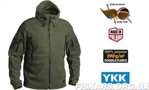 Флисовая кофта с капюшоном Helikon-Tex Patriot Heavy Fleece Jacket-Olive Green XS, S, M, L, XL, XXL, 3XL/regular (BL-PAT-HF-02)