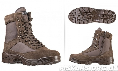 Ботинки MIL-TEC TACTICAL SIDE ZIP BOOTS BROWN, молния YKK (12822109)